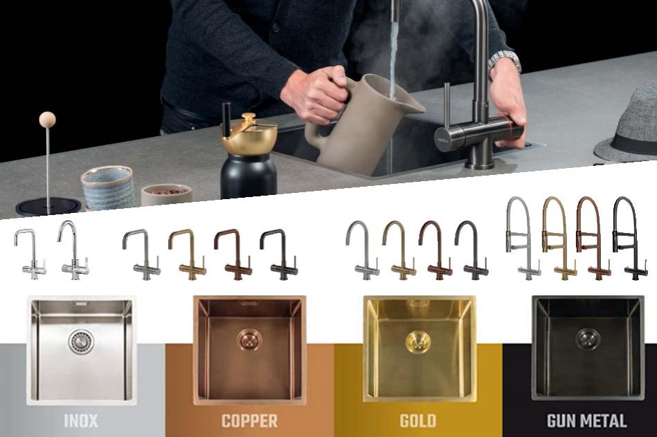 4 Selsiuz kokendwaterkraan versies en met vierkante Lanesto spoelbakken in de kleuren: Gun Metal zwart, Inox, Copper en Gold