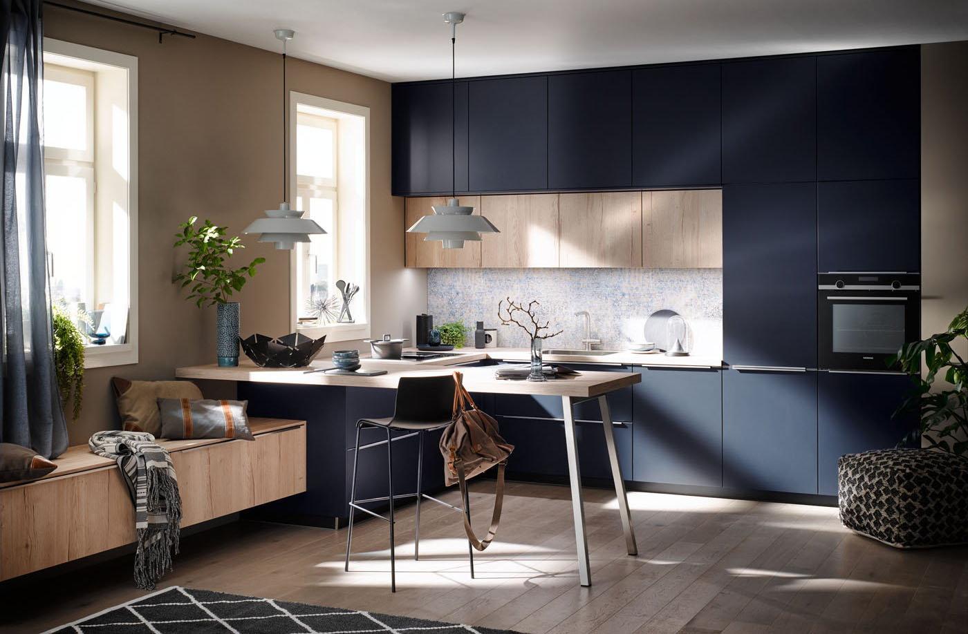 Aanrechtblad ruimte ideeën: Häcker L-keuken met bar AV 1097 AV 6000