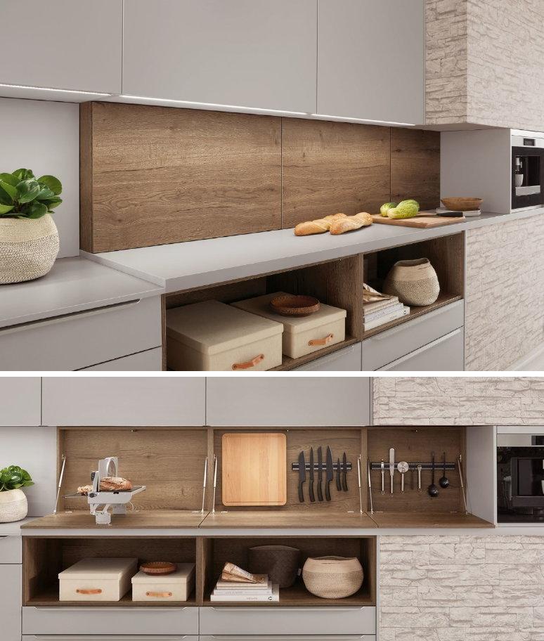 Aanrechtblad ruimte ideeën: Nobilia keukenachterwand kast voor keukenaccessoires