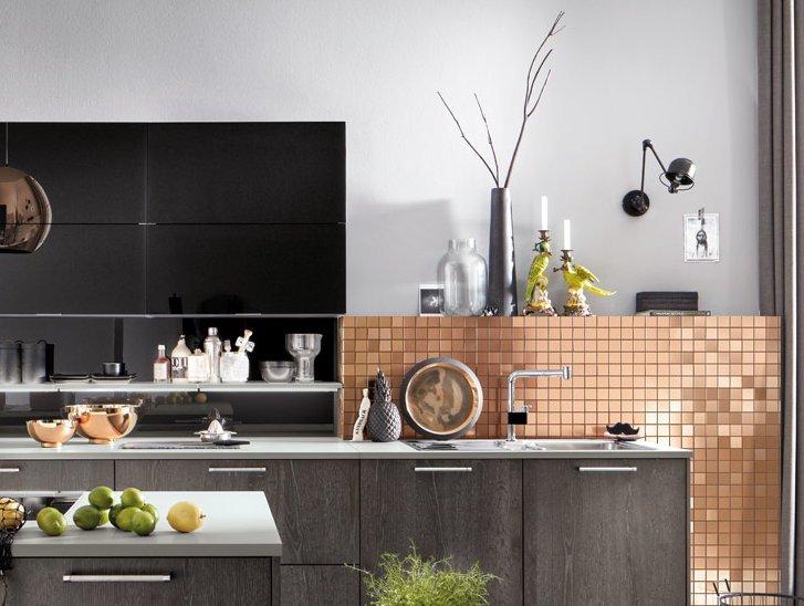 Tegel keukenachterwand in Häcker keuken AV 5084 Oude eiken zilver poriën