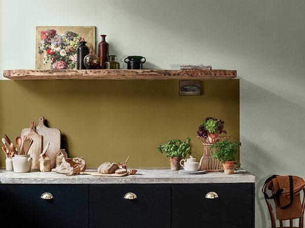 Keuken verven in de nieuwste kleuren: Flexa Tranquil Dawn, Flexa Indigo Depths + Flexa Autumn Gold - Flexa kleurentrends 2020 Flexa.nl