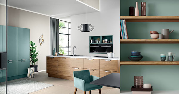 Keuken verven in de nieuwste kleuren: Häcker keuken Vancouver met Aquamarijn Laser Soft kastenwand + Histor muurverf kleur Aquamarine Dream