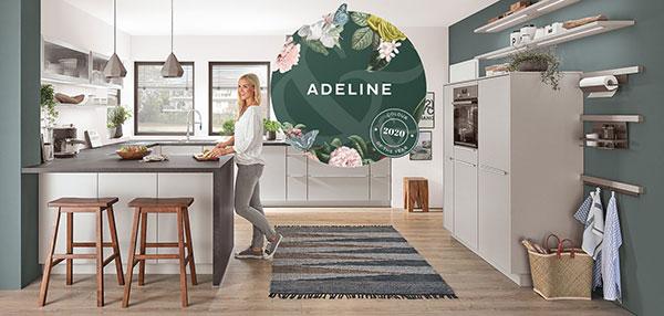 Keuken verven in de nieuwste kleuren: Nobilia keuken Fashion 165 – U-keuken met bar - Graham & Brown verf kleur van het jaar 2020: Adeline