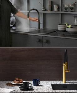 Zwarte keuken: zwarte Quooker kraan en zwarte spoelbak + Gessi keukenkraan Gold op Evora Quartz aanrechtblad – Dekker Zevenhuizen