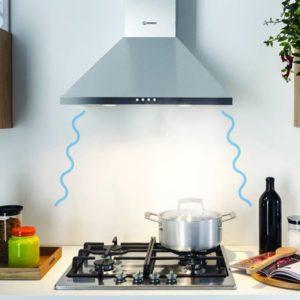 Stille afzuigkap en keuken afzuiging: Luchtstroom van de afzuigkap - Indesit wandafzuigkap