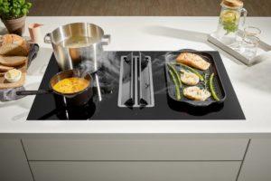 Stille afzuigkap en keuken afzuiging: Pelgrim inductiekookplaat met afzuiging - IKR2083RVS Hood in Hob