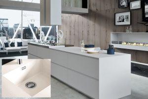 Fenix NTM wit keukenblok+ keukenblad met geïntegreerde spoelbak – keukentrend 2020