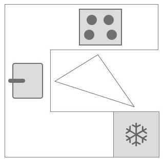 L-keuken of U-keuken: Tekening werkdriehoek van een U vorm keuken