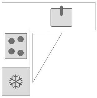 L-keuken of U-keuken: Tekening keukendriehoek in L vorm keuken dan wel hoekkeuken