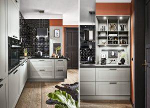 Grijze landelijke moderne keuken – Häcker Lotus hoekkeuken met koffiehoek