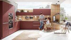 L-keuken of U-keuken: Nobilia L-keuken (hoekkeuken) Easytouch 963 in wijnrood