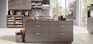 Nobilia Touch 334 LUX 819 schiefer super mat grijs moderne keuken + kookeiland