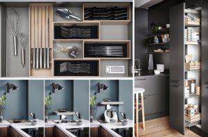 Kleine keuken of grote keuken: Häcker keukenkast inrichting: lade-indeling, hoekkast met lift en apothekerskast
