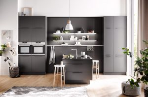 Häcker keuken Uno grafiet, grijze moderne keuken in T opstelling