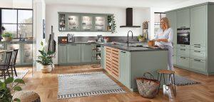 Nobilia keuken Cascada 776 laklaminaat groen grijs met riet, groene landelijke keuken T vorm