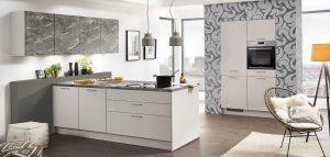 Nobilia keuken Touch 338, grijze moderne T-keuken