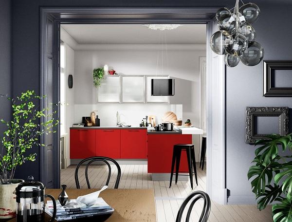 Kleine L-keuken met bar- Häcker rode keuken Uno Chili