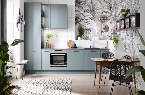 Kleine rechte blauwgroene keuken - Häcker Laser Soft Aquamarijn