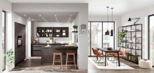 Nobilia keuken Speed 288 beton zwart parallel keuken + ingebouwde kastenwand