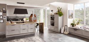 Nobilia keuken Cascada 772 lak laminaat steengrijs, landelijke parallel keuken, grijs + kastenwand
