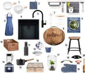 20 Moderne landelijke keuken accessoires moodboard ter inspiratie voor in de blauwe Häcker Bristol keuken
