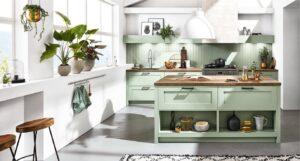 Groene landelijke keuken, werkplek bij het raam, Häcker keuken AV 6055