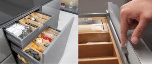 Binnenlade met houten lade indeling + handige lade meenemer – Häcker, Nobilia
