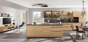 Kookeiland hout decor en rechte keuken met zwarte betonlook aanrechtblad – Nobilia Structura 405 decor eiken sierra