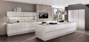 Nobilia LUX 819 zijde grijs hoogglans design keuken + kookeiland