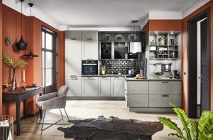 Häcker keuken Lotus parelgrijze moderne keuken + landelijke elementen