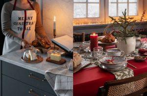 Grijze keuken met marmerlook keukenblad & gedekte kersttafel, H&M Home kerst 2020