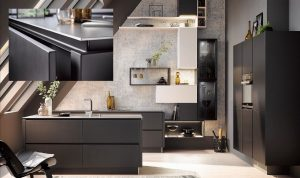 Zwarte greeplijst, komgreep keukenlade, Häcker zwarte keuken 2035 GL satijn lak