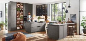 Industriële keuken, U_vorm Nobilia greeploze keuken Riva grijs beton