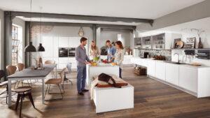 Industriële moderne keuken, Nobilia Inline 551 mat witte keuken