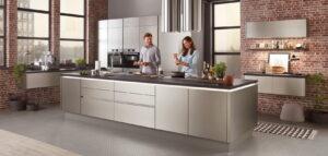 RVS keuken met keukeneiland, Nobilia INOX 216