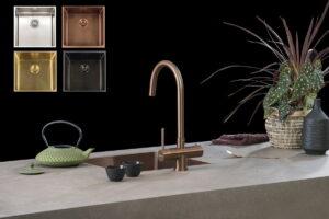 Gekleurde spoelbak in koper, goud, zwart en INOX – Lanesto RVS spoelbak vierkant