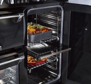 Zwarte Richmond Stoves fornuis met 3 ovens (splitfunctie voor 4de oven