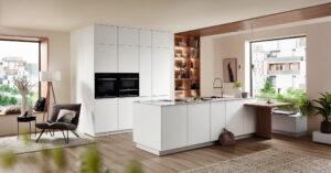 Design keuken met bar, Nobilia witte keuken mat