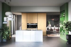 Moderne witte keuken met open groene keukenkastjes, Häcker keuken AV 6082 GL AV 4030 PerfectSense kristalwit keukenfrontjes, zichtzijden en aanrechtblad