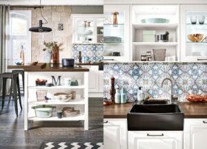 Modern klassieke keuken met decor Portugese tegel keuken achterwand & open keukenkasten, Häcker keuken Breda