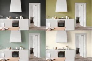 Keukenmuren verven van een modern klassieke keuken met Flexa verf magna, olijf, eucalyptus en eierschaal