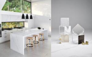 Witte design keuken met marmer composiet keukenblad en nis/zijpanelen, Silestone Calacatta Gold