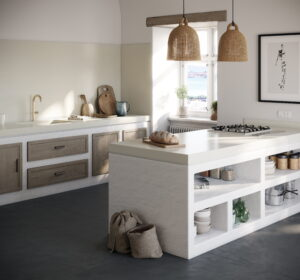 Witte keuken met wit composiet werkblad, Silestone Faro White