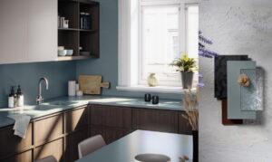 Houten moderne keuken met grijs blauw composiet keukenblad, Silestone Cala Blue Sunlit Days