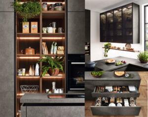 Design keukenindeling met open kasten, glazen bovenkasten, luxe lade interieur, Nobilia Riva betonlook keuken