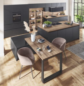 Design keuken met tafel, Nobilia Touch mat zwarte keuken