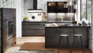 Industriële keuken achterwand, Nobilia Speed zwart betonlook keuken