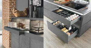 Keukenlade indeling met bestekbak & keukenlade met glazen front, Nobilia Riva betonlook keuken