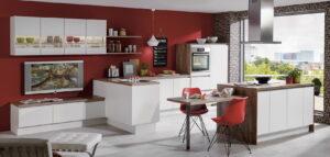 Witte kookeiland met eettafel – Nobilia keuken Laser 416