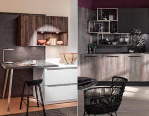 Kleine keuken met bar & stalen regalen als open keukenkasten, Häcker keukens